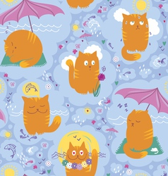 Seamless pattern cats and summer vacation vector