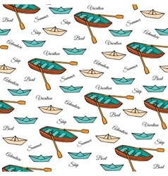 Seamless pattern of boats vector