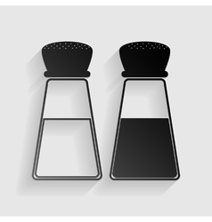 Salt and pepper sign black paper with shadow on vector