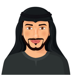 Arabian man face front view isolated on avatar vector