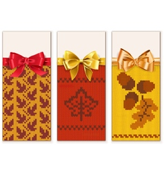 Autumn Knitted Banners Set 1 vector image vector image