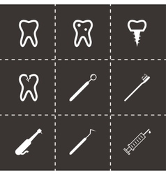 black dental icons set vector image