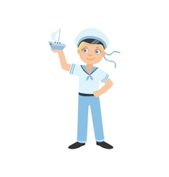 Boy dressed as sailor holding toy boat vector
