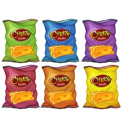 Cheese snacks in six color bags vector image