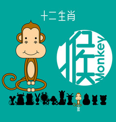 Chinese zodiac sign monkey vector