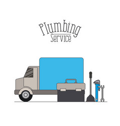 Color poster of vehicle car plumbing service vector