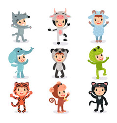 colorful set of children in different animal vector image