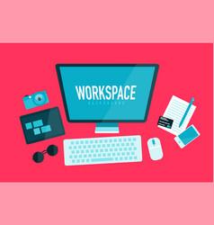 computer workspace concept vector image