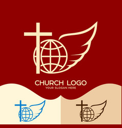 Cross of jesus globe and angel wing vector