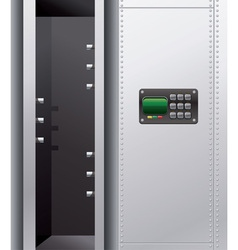 empty metal safe with digital lock vector image