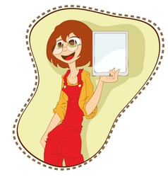 girl with tablet pc vector image vector image