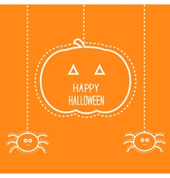 Hanging pumpkin and two spiders vector image