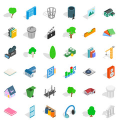 House thing icons set isometric style vector