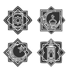 islamic ornate emblem set vector image vector image