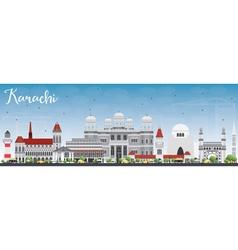 Karachi skyline with gray landmarks vector