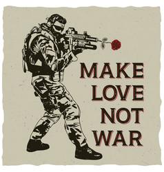 Make love not war poster vector