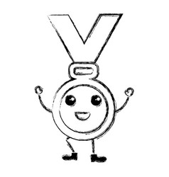 Medal award kawaii character vector