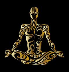 Meditation yoga man silhouette vector