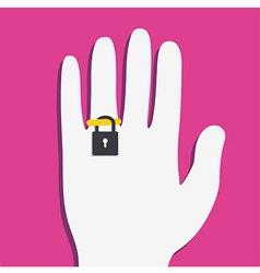 Ring locker on hand vector