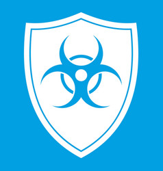 Shield with a biohazard sign icon white vector