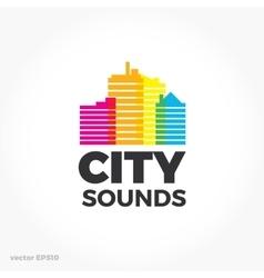 Sound equalizer symbol logo City urban sounds vector image vector image