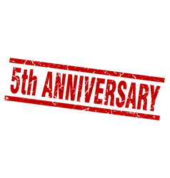 Square grunge red 5th anniversary stamp vector