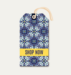 Tag with portuguese blue ornament azulejos vector