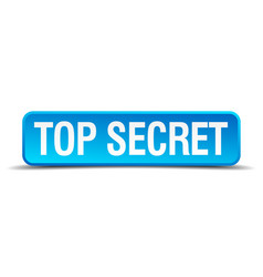 top secret blue 3d realistic square isolated vector image vector image
