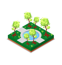 water pool in park isometric 3d icon vector image