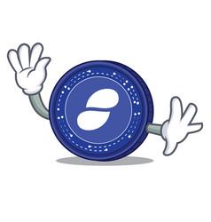 Waving status coin character cartoon vector