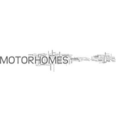 what to look for in motor homes text word cloud vector image