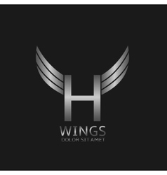 Wings H letter logo vector image vector image