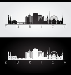 zurich skyline and landmarks silhouette vector image vector image