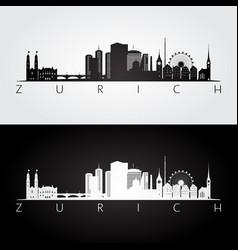 Zurich skyline and landmarks silhouette vector