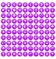 100 weather icons set purple vector