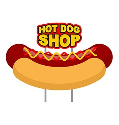 Hot dog shop signboard big juicy sausage and bun vector