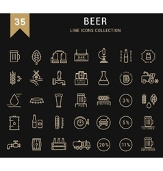 Set flat line icons beer vector
