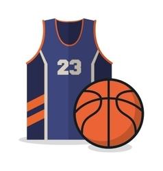 Ball and tshirt of basketball sport design vector