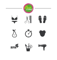Hairdresser spa icons diet cocktail sign vector