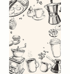 Breakfast hand drawn set vector