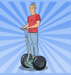Pop art young man riding segway urban transport vector