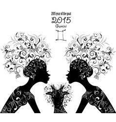 2015 year of the beautiful goat and Zodiac sign vector image vector image