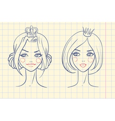 Princess Sketches style in notebook vector image