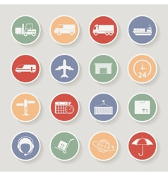 Shipping and logistics round icons vector