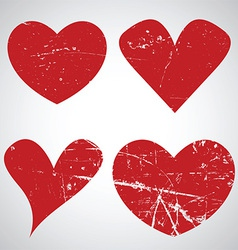 Grunge Valentines Day hearts vector image