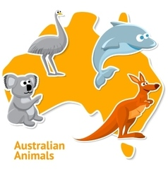 Set of stickers with australian animals and map as vector
