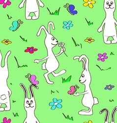 Seamless pattern of funny rabbits vector