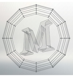 Letter m fonts of mesh vector