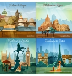 Touristic cities 4 flat icons composition vector