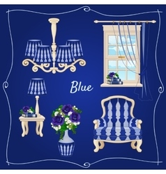 Set of furniture five individual objects in blue vector